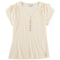HYFVE Womens Solid Buttom Placket Top