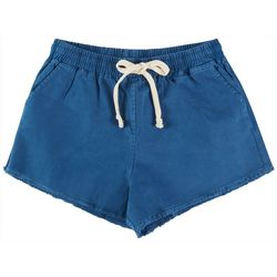 Double Zero Womens Solid Drawstring Lounge Frayed Shorts