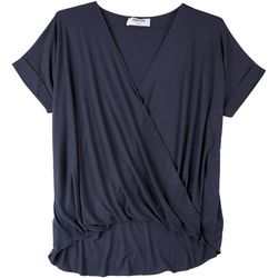 Double Zero Womens Solid Flowy V-Neck Top