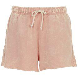 Double Zero Womens Solid Drawstring Frayed Shorts