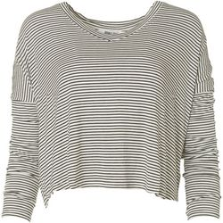 Double Zero Womens Striped Flowy Long Sleeve Top