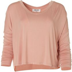 Double Zero Womens Solid Flowy Long Sleeve Top