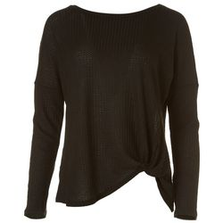 HYFVE Womens Solid Waffle Knit Tie Front Long Sleeve Top
