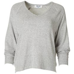 Double Zero Womens Solid Flowy V-Neck Sweater