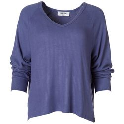 Double Zero Womens Solid Flowy V-Neck Sweater
