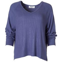 Womens Solid Flowy V-Neck Sweater