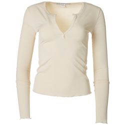 HYFVE Womens Solid Ribbed Long Sleeve Top