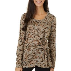 Womens Mixed Animal Print Tie Front Long Sleeve Top