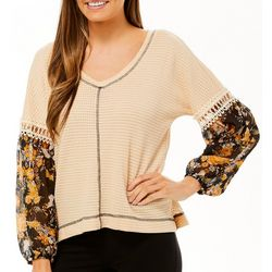 Tru Self Womens Waffle Texture Floral Panel Sleeve Top