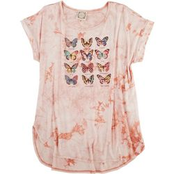 Tru Self Womens Butterfly Round Neck T-Shirt