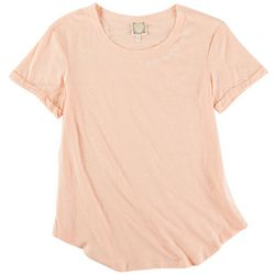 Tru Self Womens Embroidered Neck Short Sleeve Top