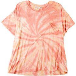 Tru Self Womens Tie Dye Pocket Short Sleeve Top