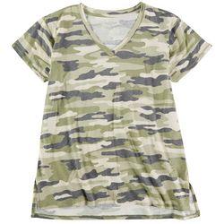 Workshop Womens Camo Chest Pocket V-Neck T-Shirt