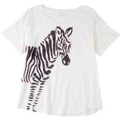 Chelsea & Theodore Womens Zebra Short Sleeve Top