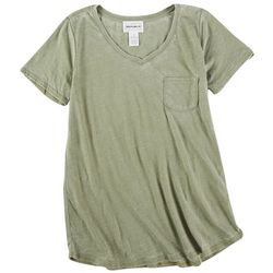 Reel Legends Womens Solid V-Neck Short Sleeve Top