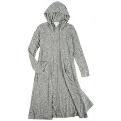Womens Solid Hooded Cardigan