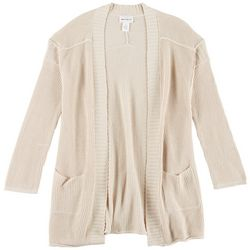 For The Republic Womens Solid Open Cardigan