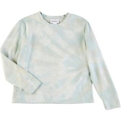 For The Republic Womens Tie Dye Crew Neck Long Sleeve Top