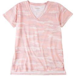 Workshop Womens Pink Camo Pocket V-Neck T-Shirt