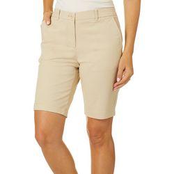 Dept 222 Womens Solid Twill Bermuda Shorts