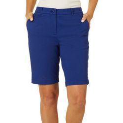Dept 222 Womens Solid Twill Bermuda Shorts