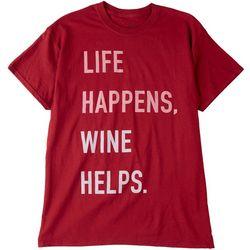 Bittersweet Womens Life Happens,Wine Helps Short Sleeve Top