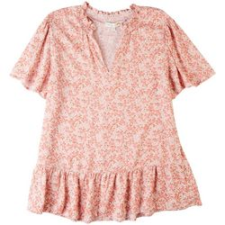 C&C California Womens Smocked Neck Floral Top