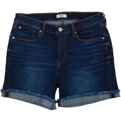 Kensie Jeans Womens Single Roll Cuff Fray Denim Shorts