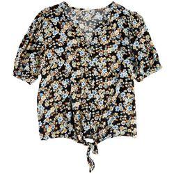 C&C California Womens Floral Short Sleeve Top