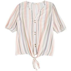 C&C California Womens Striped Short Sleeve Top Front Tie