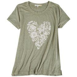 C&C California Womens Floral Heart T-Shirt