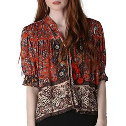 Sky & Sand Womens Button Down Bandana Print Top