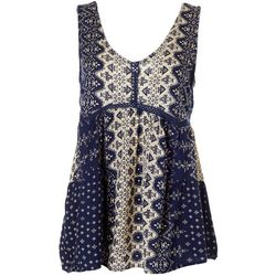 Sky & Sand Womens Geometric Print Sleeveless Top