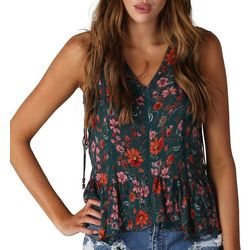 Sky & Sand Womens Floral Print Sleeveless Top