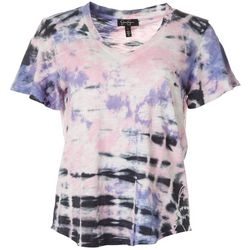 Jessica Simpson Womens Tie Dye V-Neck Short Sleeve Top