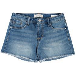 Womens Denim Frayed Hem Shorts