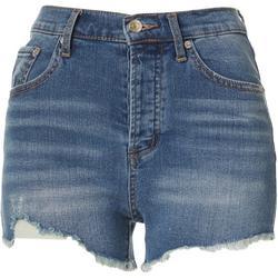 Womens High Waist Denim Frayed Hem Shorts