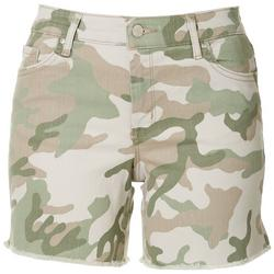 Womens Camo Frayed Shorts