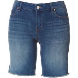 Womens Denim Frayed Hem Midi Shorts