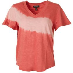 Jessica Simpson Womens Tie Dye Stripe V-Neck Top