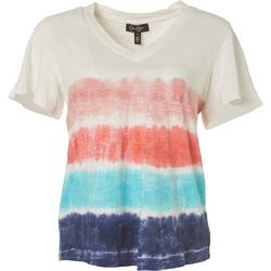 Jessica Simpson Womens Tie Dye Heathered Short Sleeve Top