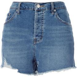 Womens Soft Frayed High Waist Denim Shorts