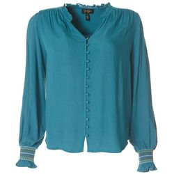 Jessica Simpson Womens V-Neck Long Sleeve Top