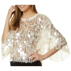 Ontwelfth Womens Solid Sequin Embellished Round Neck Top