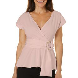 Ontwelfth Womens Solid Belted Cap Sleeve Top
