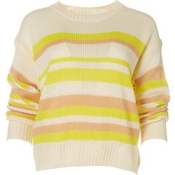 Womens Striped Long Crew Neck Sweater