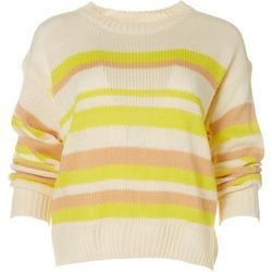 Womens Striped Long Crew Neck Sweater