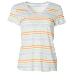Dept 222 Womens Horizontal Stripe V-Neck T-Shirt