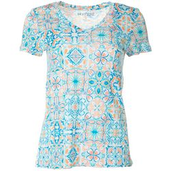 Dept 222 Womens Tile Print V-Neck T-Shirt