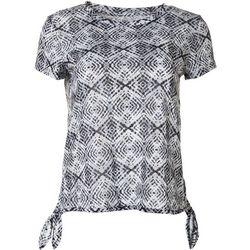 Dept 222 Womens Diamond Printed Tie Hem Short Sleeve Shirt